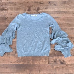 One Grey Day Silk Blend Sweater- Gray- Size M
